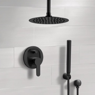 Matte Black Ceiling Shower System With Rain Shower Head and Hand Shower